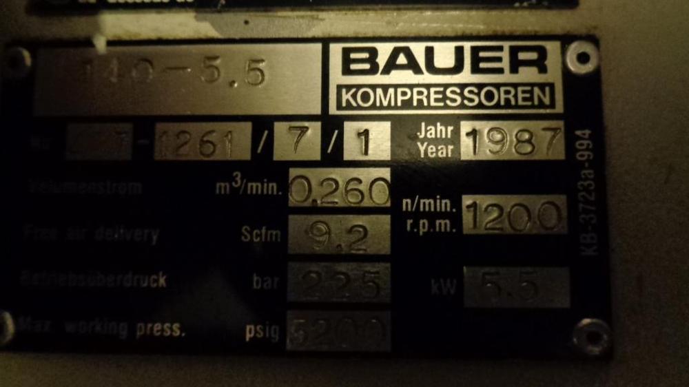 Бытовой газовый компрессор BAUER 16 б/у
